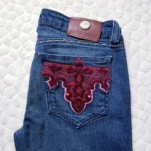 Antik jeans red embroidered denim bling pockets 27